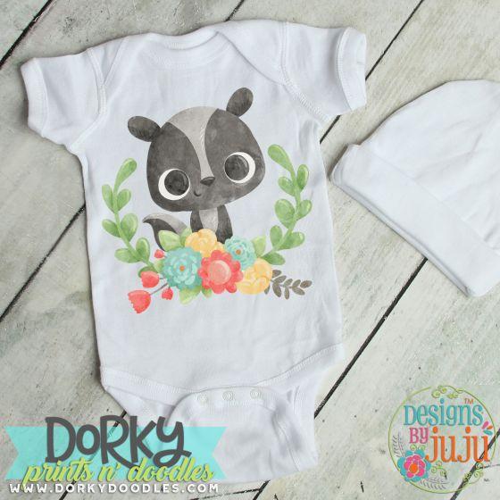 Baby Skunk With Laurel Digital Watercolor PNG Printable File Designs by JuJu