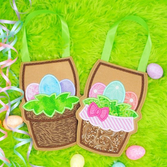 Easter Basket In The Hoop Easter Treat Bags Designs by JuJu Machine Embroidery Designs