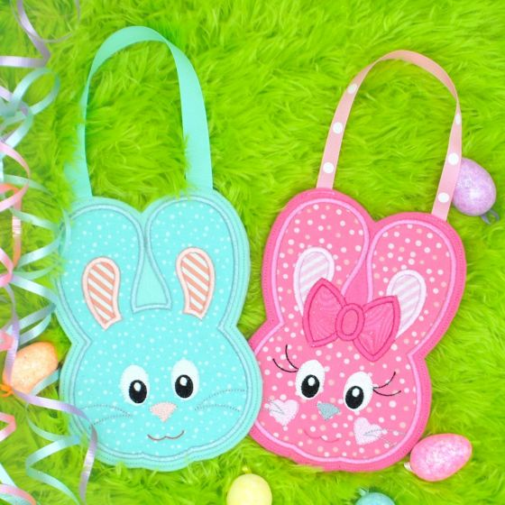 Easter Bunny In The Hoop Treat Bags Designs by JuJu Machine Embroidery Designs
