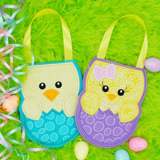 Easter Chick In The Hoop Treat Bag Designs by JuJu Machine Embroidery Designs