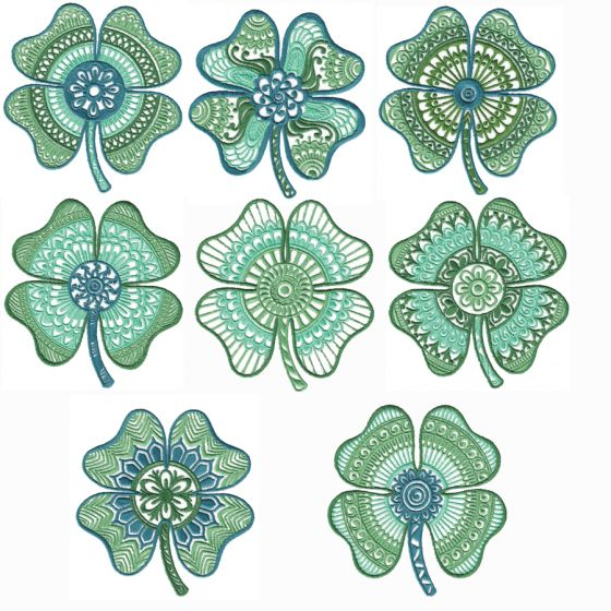 Ornamental Four Leaf Clovers Machine Embroidery Designs by JuJu