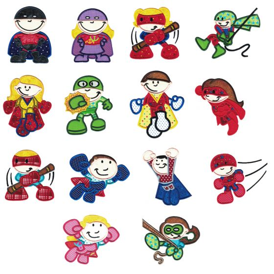 Super Heroes Applique Machine Embroidery Designs by JuJu