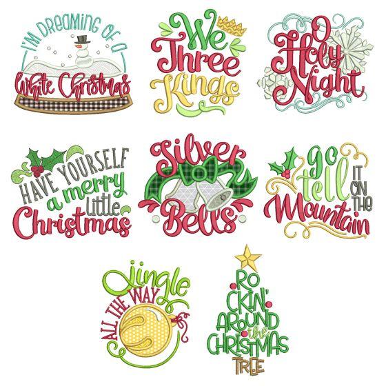 Christmas Carols Word Art 3 Machine Embroidery Designs by JuJu