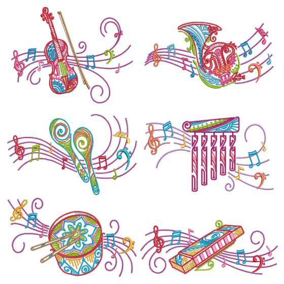 Mehndi Music 1 Machine Embroidery Designs By JuJu