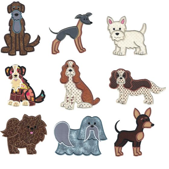 Top Dogs Applique Set 6 Machine Embroidery Designs by JuJu