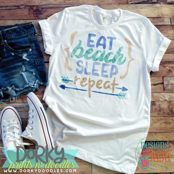 Eat Beach Sleep Repeat Digital Watercolor PNG Printable File Designs by JuJu
