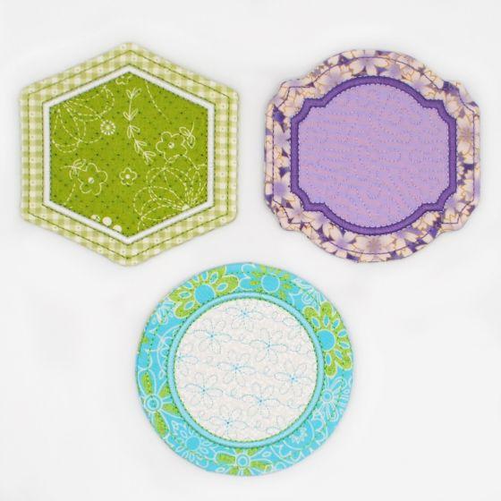In The Hoop Coasters Set 2 Machine Embroidery Designs by JuJu