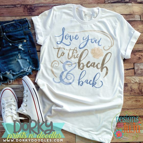 Love You To The Beach And Back Digital Watercolor PNG Printable File Designs by JuJu