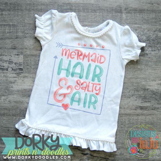 Mermaid Hair Salty Air Digital Watercolor PNG Printable File Designs by JuJu