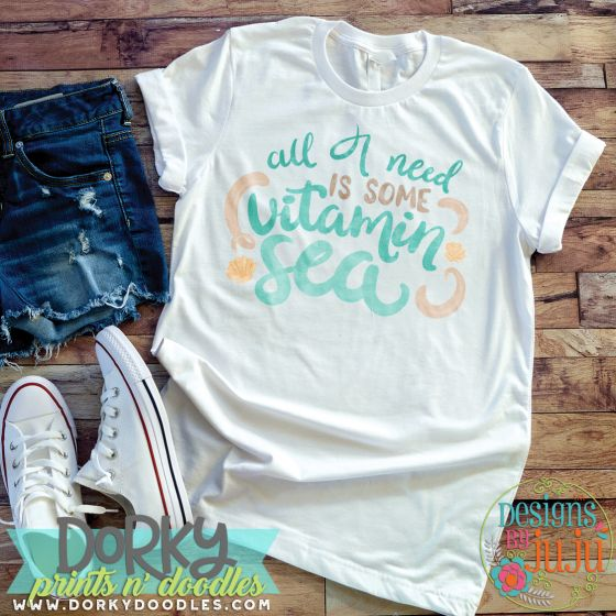 All I Need Is Some Vitamin Sea Digital Watercolor PNG Printable File Designs by JuJu