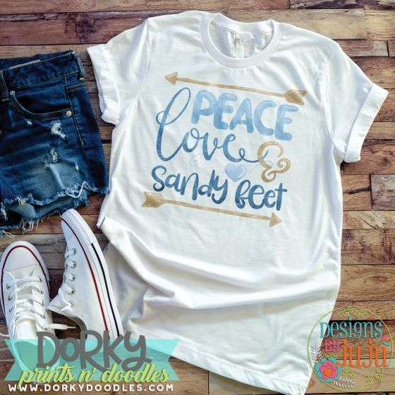 Peace Love & Sandy Feet Digital Watercolor PNG Printable File Designs By Juju