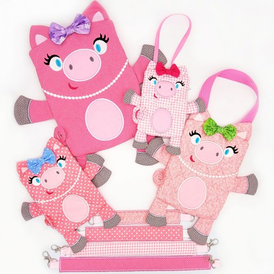 In The Hoop Pig Zipper Bag Machine Embroidery Designs by JuJu
