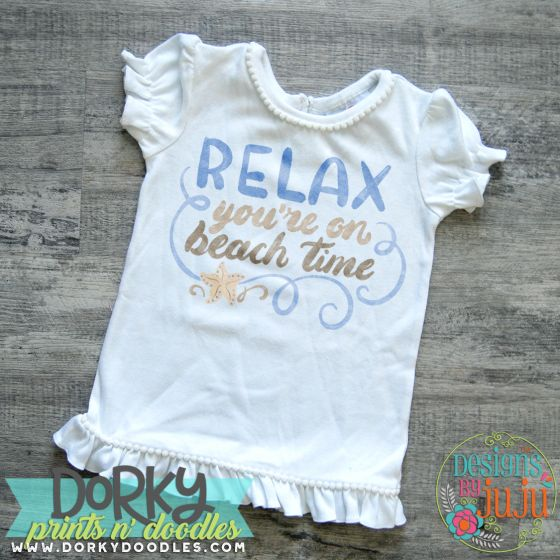 Relax Your On Beach Time Digital Watercolor PNG Printable File Designs by JuJu