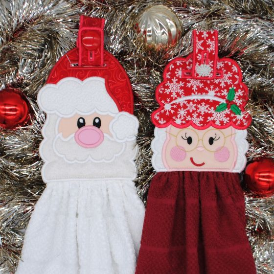 Designs by JuJu In The Hoop Christmas Towel Hangers Toppers Santa Clause and Mrs Clause Machine Embroidery Designs