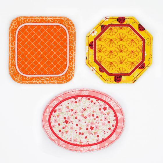 In The Hoop Coasters Set 1 Machine Embroidery Designs by JuJu