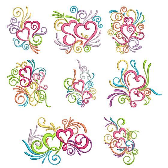 Swirly Hearts Machine Embroidery Designs by Juju