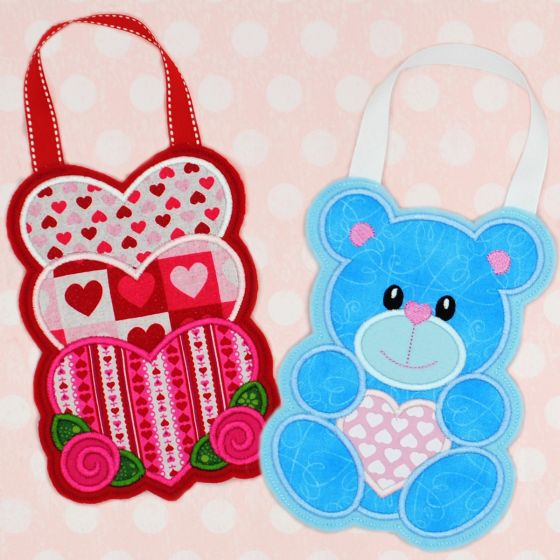 In The Hoop Valentine Stacked Hearts and Teddy Bear Treat Bags Designs by JuJu Machine Embroidery Designs