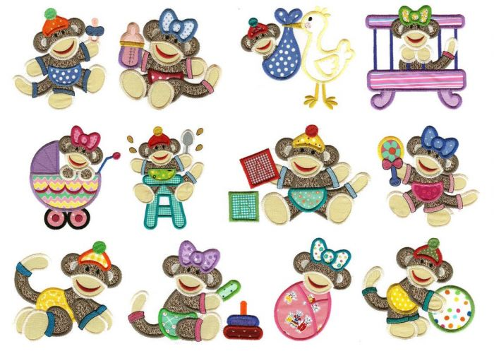 Sock monkey baby jumbo applique machine embroidery designs