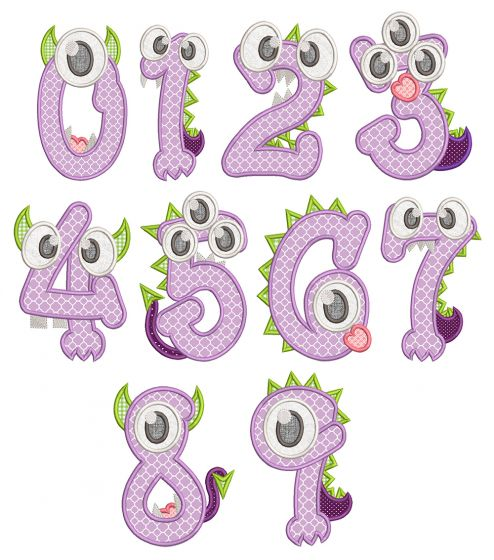 Monster Baby Numbers Applique Machine Embroidery Designs By JuJu