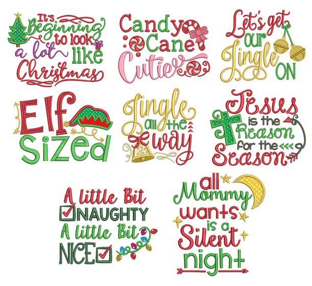 Christmas Word Art Set 1 Machine Embroidery Designs by JuJu
