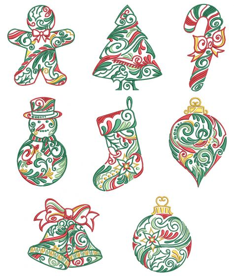 Ornamental Christmas Machine Embroidery Designs by JuJu