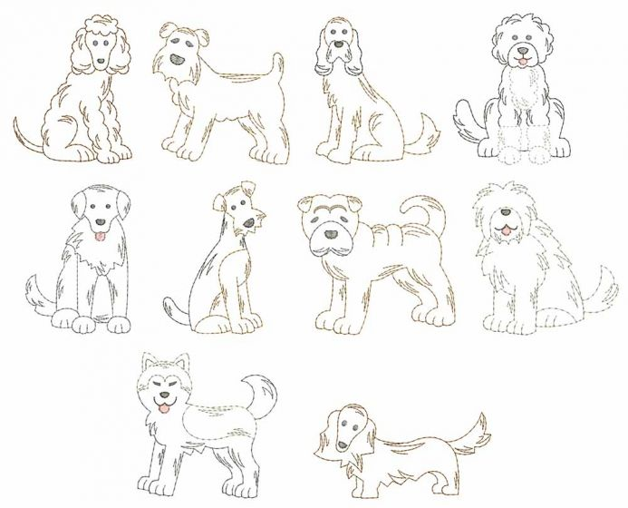 Top Dogs Vintage Stitch Set 7 Machine Embroidery Designs by JuJu