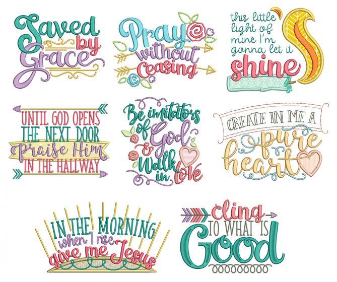 Biblical Sayings 2 Machine Embroidery Designs by JuJu