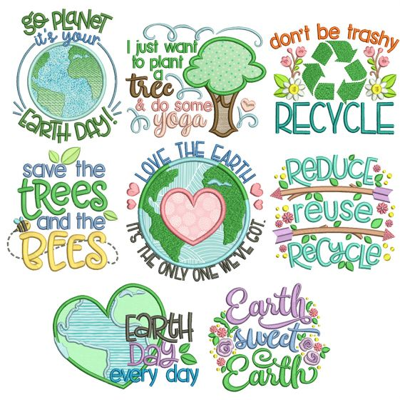 Happy Planet Word Art Machine Embroidery Designs By JuJu