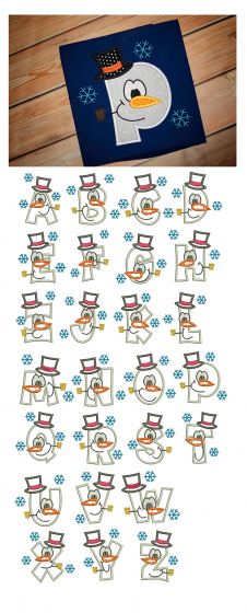 Snowman Applique Alphabet Machine Embroidery Designs by JuJu