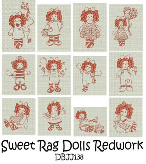 Sweet Rag Dolls Redwork