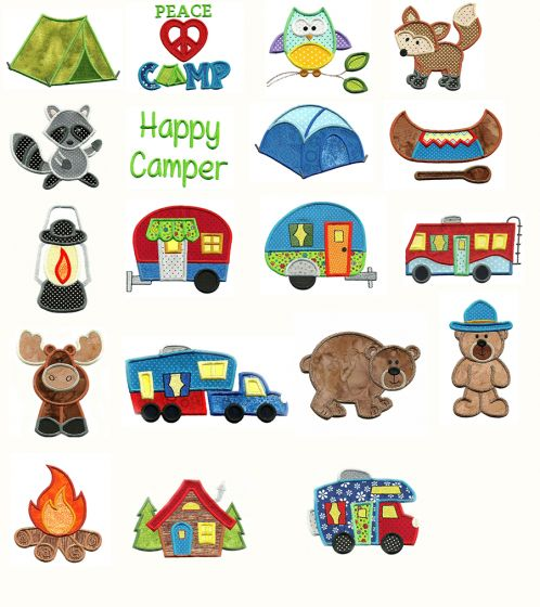 Go Camping Applique Applique Machine Embroidery Designs