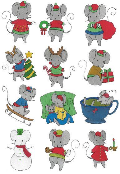 Cute Christmas Mice Filled Designs by JuJu