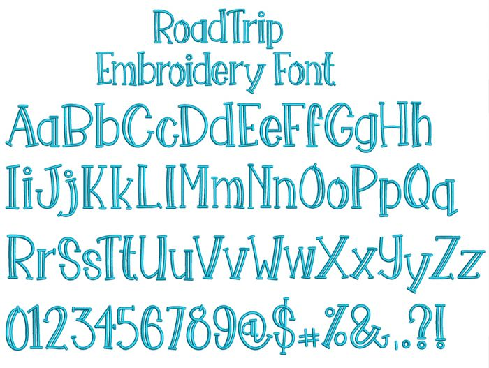 Road Trip Embroidery Font