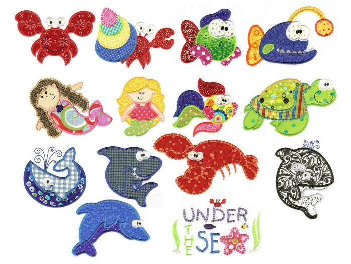 Ocean fun applique fish crab and mermaid embroidery designs