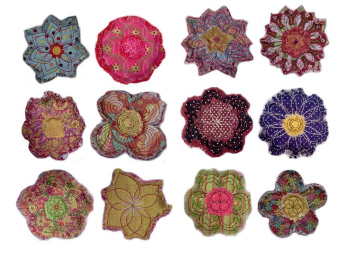 Raggedy raggy flowers applique machine embroidery designs