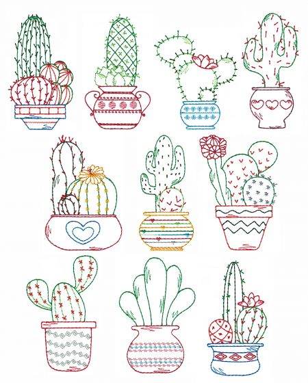 Cute Cactus Vintage Stitch Machine Embroidery Designs by JuJu