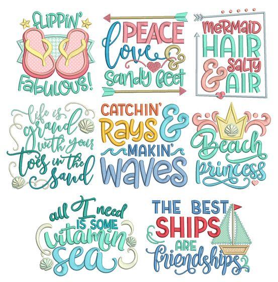 Beach Word Art 2 Machine Embroidery Designs By JuJu
