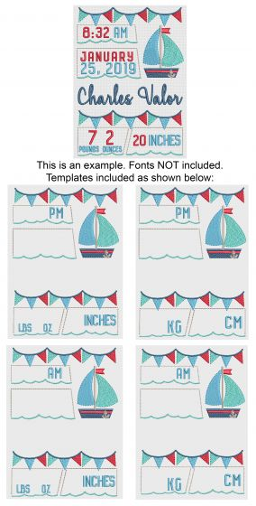 Sailboat Birth Announcement Template Machine Embroidery Designs by JuJu