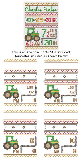 Tractor Birth Announcement Template Machine Embroidery Designs by JuJu