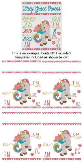 Unicorn Birth Announcement Template Machine Embroidery Designs by JuJu