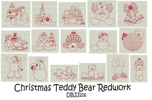 Christmas Teddy Bear Redwork