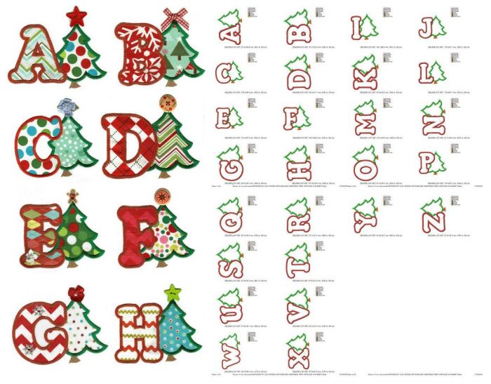 Christmas tree applique alphabet machine embroidery designs