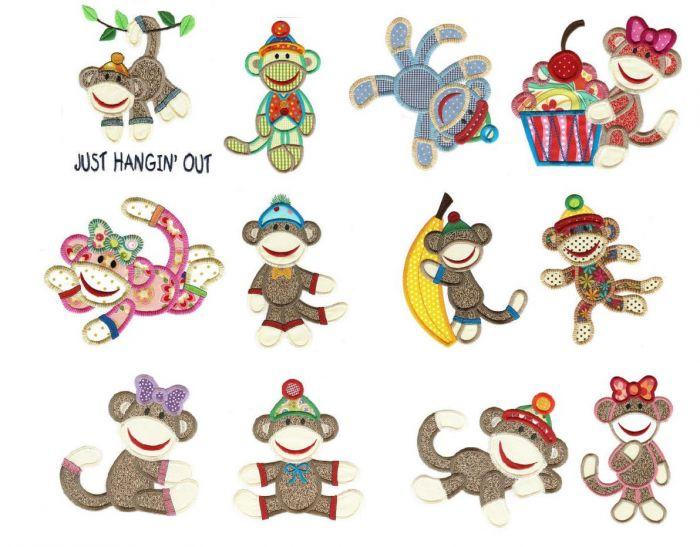Sock monkeys applique machine embroidery designs