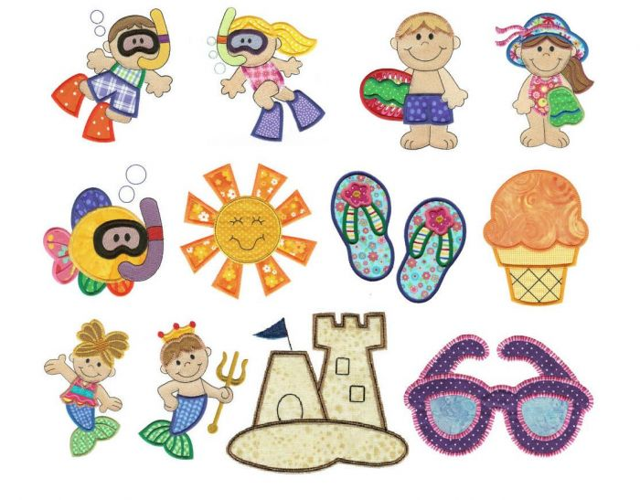 Summer beach scuba diving and mermaids applique machine embroidery designs
