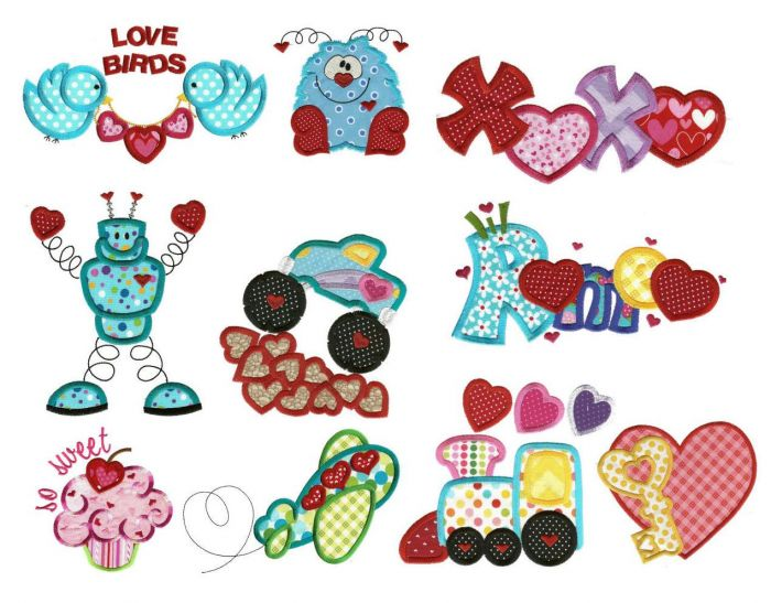 Hearts aplenty applique embroidery with cute monster designs, truck, and cupcake embroidery