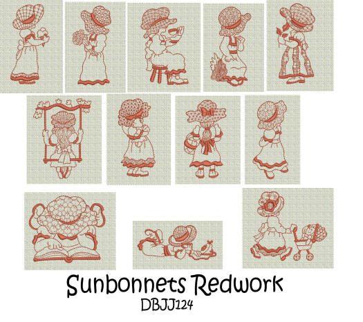 Sunbonnets Redwork