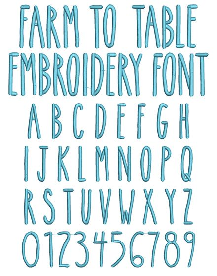 Farm To Table Embroidery Font