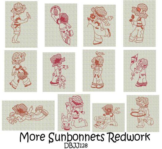 More Playful Sunbonnets Redwork