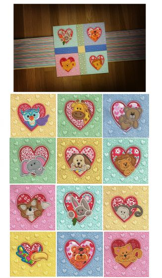 Valentine Heart Peekers Applique and Quilt Blocks