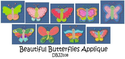 Beautiful Butterflies Applique 4x4